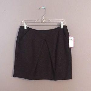 CAbi charcoal mini skirt, pockets & a pleat